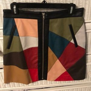 BCBG Generation color block leather skirt.
